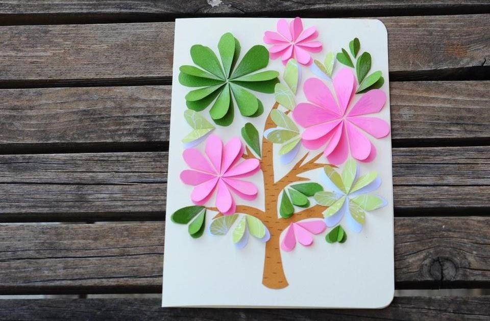 Объемная открытка из бумаги цветок